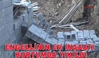 Anamur Engellinin ev inşaatı hortumda yıkıldı
